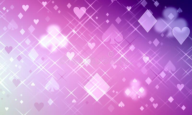 Purpurrotes Muster von Spielkartesymbolen lizenzfreie abbildung