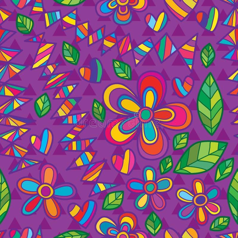 Purpurrotes nahtloses Muster des Blumenartmode-Dreiecks stock abbildung