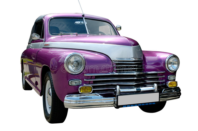 Purpurrotes Retro- Auto getrennt lizenzfreies stockbild