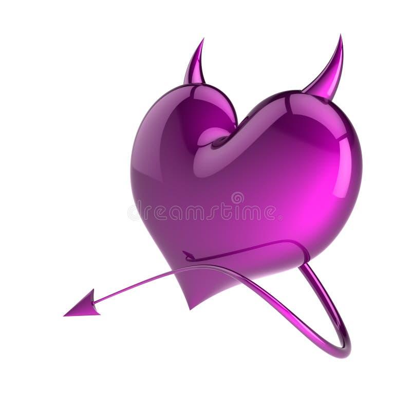 Purpurrotes Teufelherz, lustige Ikone der gefälschten Liebeszusammenfassung stock abbildung