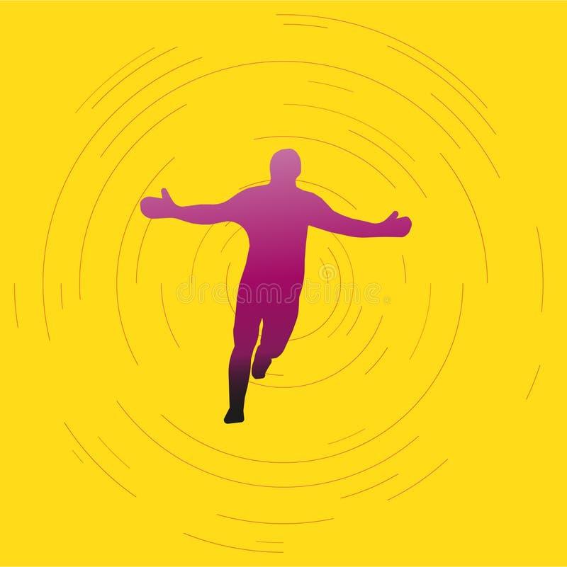 Purpurrotes violettes Schattenbild des laufenden Mannes auf hellem Hintergrund Siegerglücklicher mensch stock abbildung