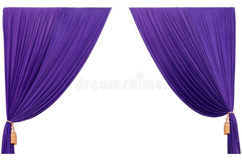 Purpurrotes Vorhangtheater lokalisiert auf weißem Hintergrund und Beschaffenheit lizenzfreies stockbild