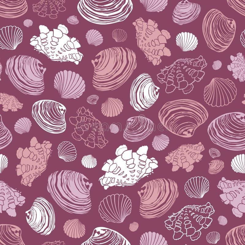 Purpurrotes Wiederholungsmuster des Vektors mit Vielzahl von Muschelmuscheln Vervollkommnen Sie für Grüße, Einladungen, Packpapie vektor abbildung
