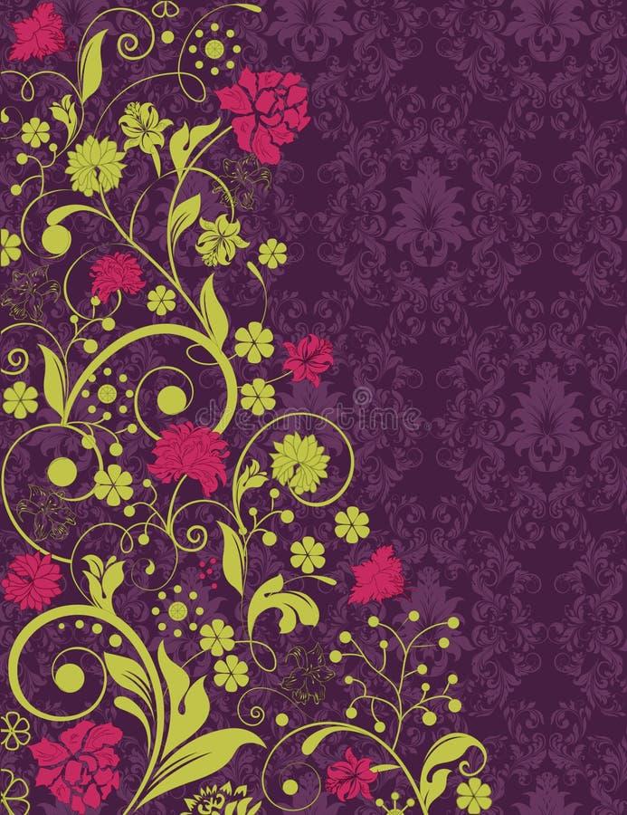 Purpurt damastast bröllopinbjudankort stock illustrationer
