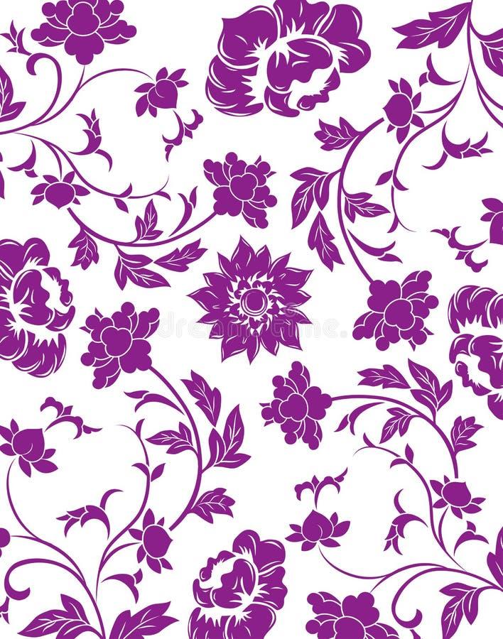 purpurt seamless för blommamodell stock illustrationer