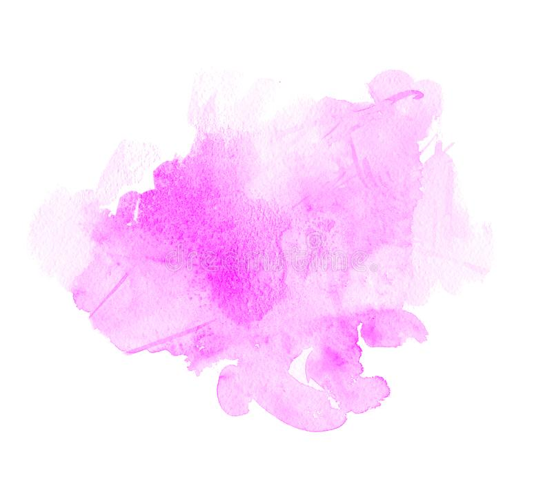 Purpury, fio?ek, bez i b??kitne akwareli plamy, Jaskrawy koloru element dla abstrakcjonistycznego artystycznego t?a royalty ilustracja