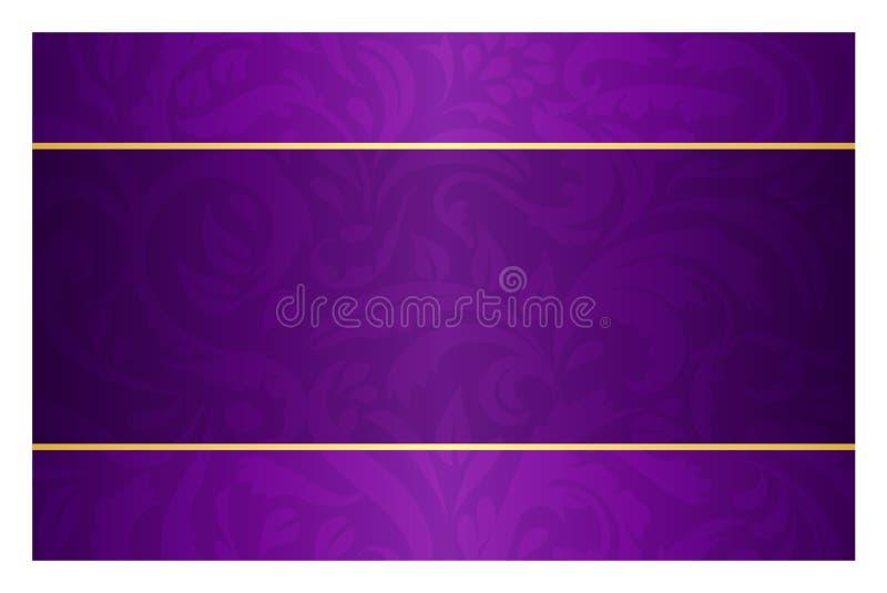 Purpury gręplują z rocznika wzorem i złotą etykietką ilustracja wektor