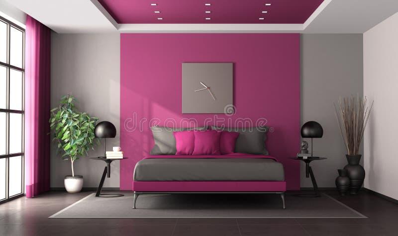 Purpury i szara mistrzowska sypialnia ilustracja wektor