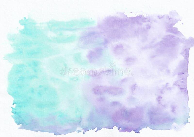 Purpury lub nieba błękit ametystowy i turkusowy mieszali akwareli horyzontalnego gradientowego tło Ja ` s pożytecznie dla kartka  ilustracji