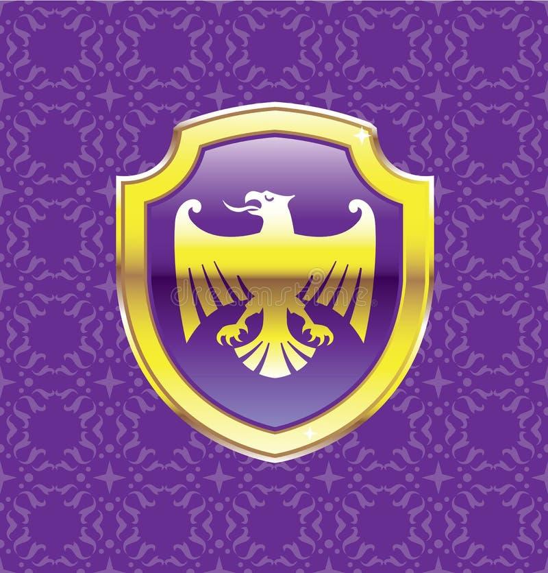 Purpury Osłaniają Z Złotego Eagle Wektorowej Królewskiej ikony kwiecistym tłem ilustracji