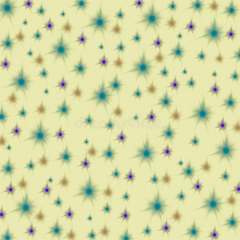 Purpury, pomarańcze i błękitne gwiazdy na pastelowym żółtym tle, bezszwowy niekończący się wzór ilustracji