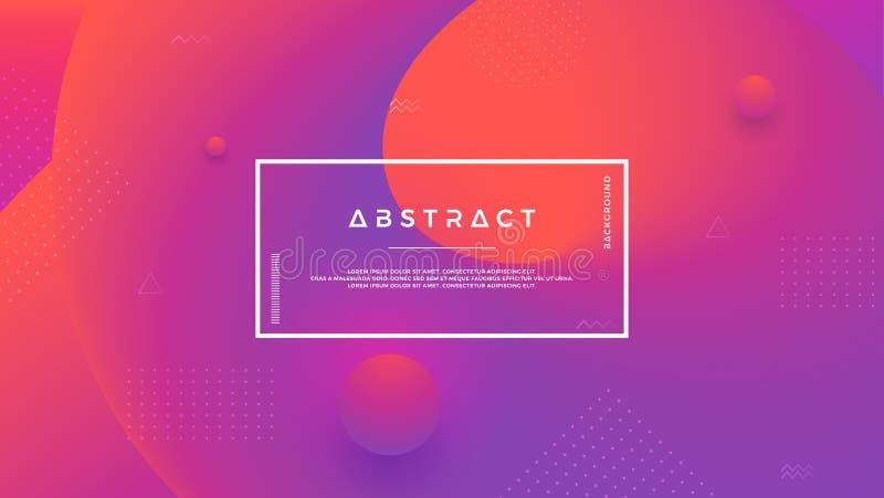 Purpury, pomarańczowy abstrakcjonistyczny tło z dynamicznym ciekłym kształtem Minimalny rzadkopłynny tło dla plakatów, plakaty, b ilustracja wektor