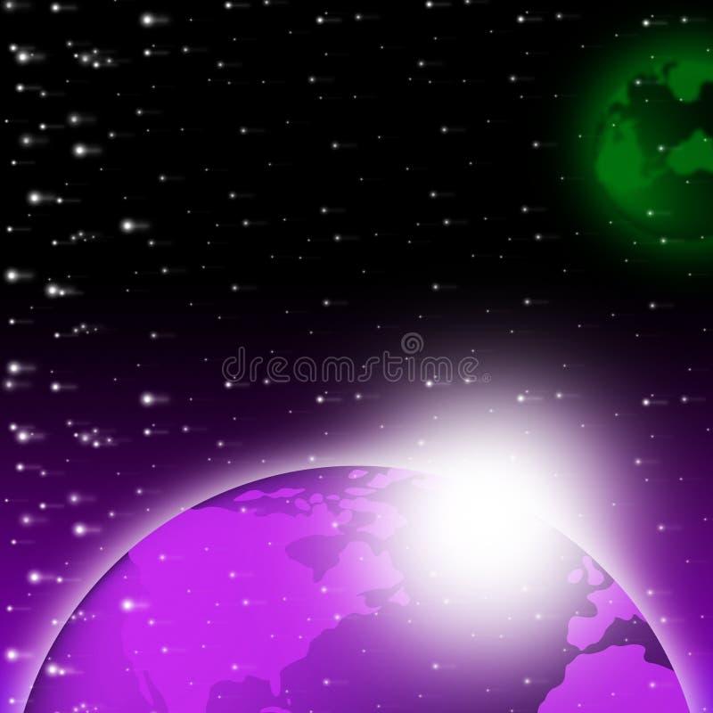 Purpury tła przedstawień świetlistości Ziemska planeta I nieba ilustracja wektor