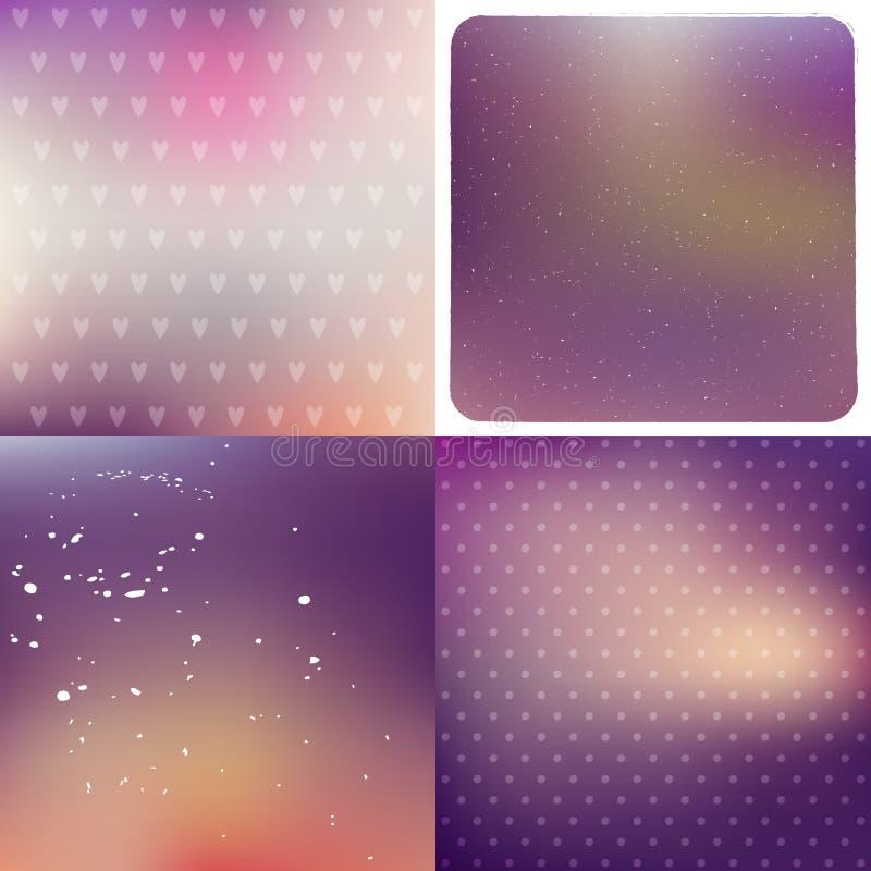 Purpury tła zamazany set ilustracji