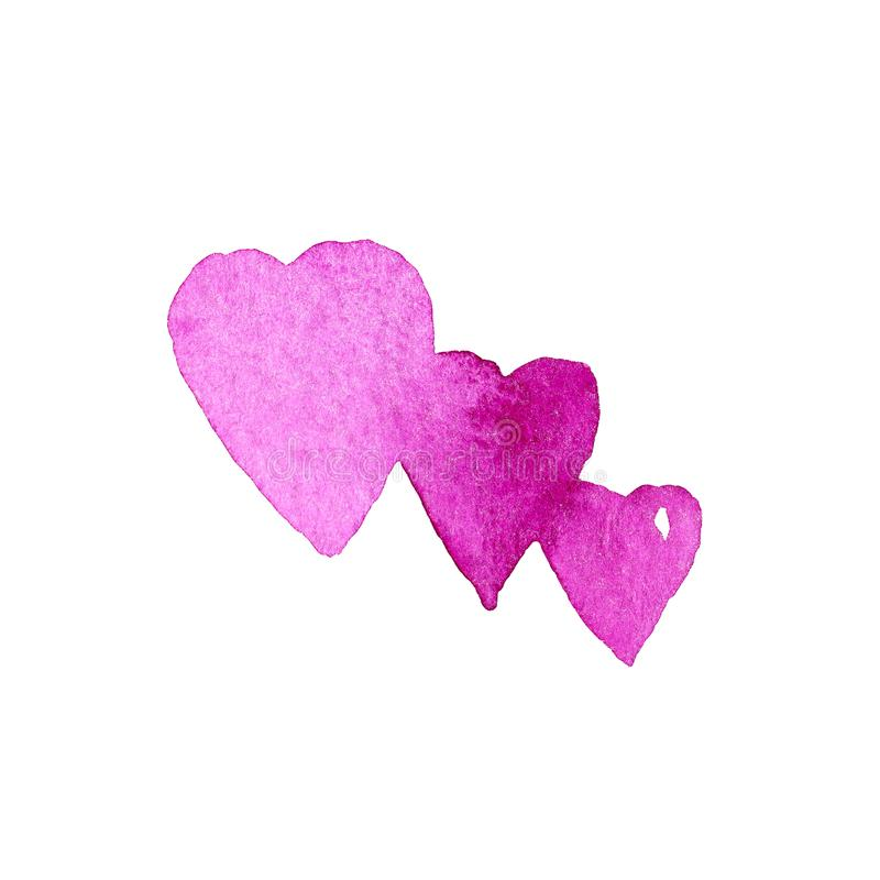 Purpury trzy akwareli serca Projekta element dla kartka z pozdrowieniami ilustracja wektor