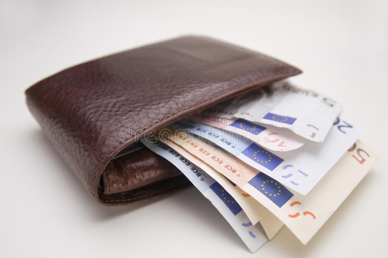 Purse. With euro notes on white background royalty free stock images