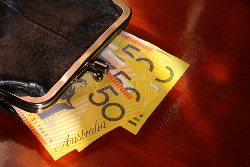 Download Purse with Aussie Notes stock photo. Image of australian - 5762706