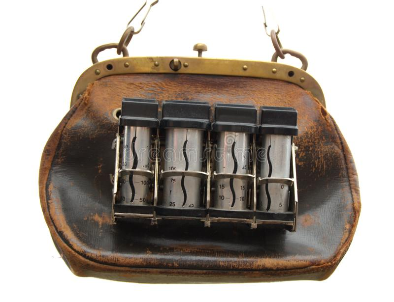 Time to pay. Pay time!. Purse or bag used in old times of salesmen  to collect Money for tickets and similar stock photography