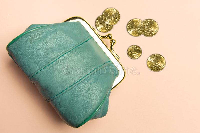 Purse for coins.Wallet for change. Leather purse, purse on a ora royalty free stock images