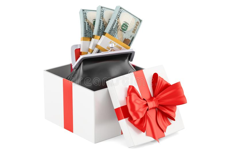 Purse with dollar packs inside gift box, 3D rendering vector illustration