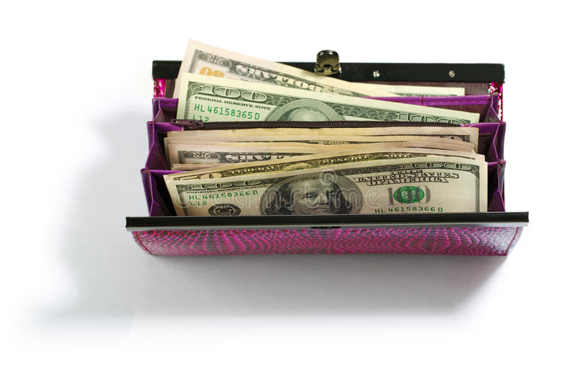 Download Purse with dollars stock image. Image of isolated, close - 17370157
