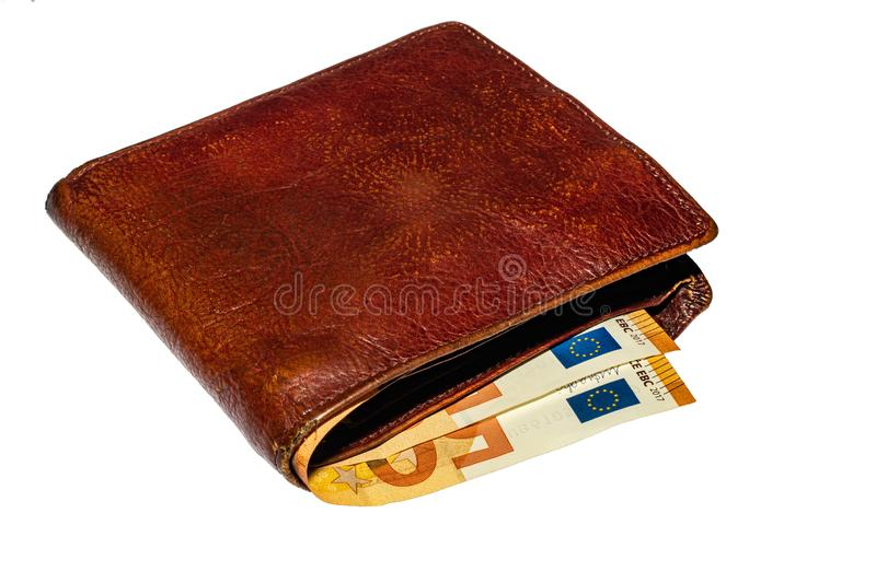 Purse with euro money on a white background Ukraine, Kiev 21.10.2019 stock photography
