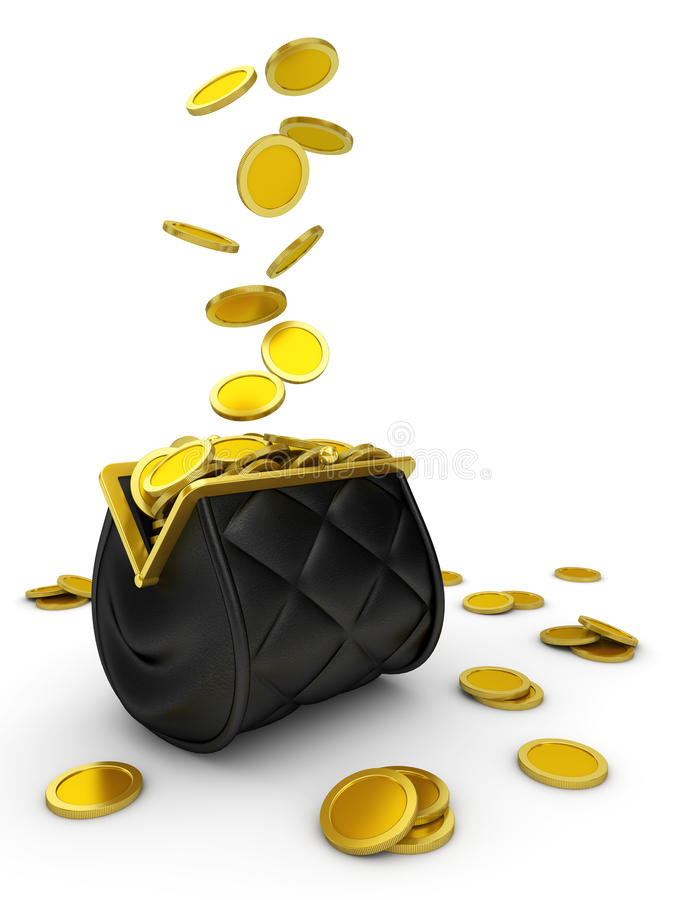 Purse and falling money isolated stock illustration