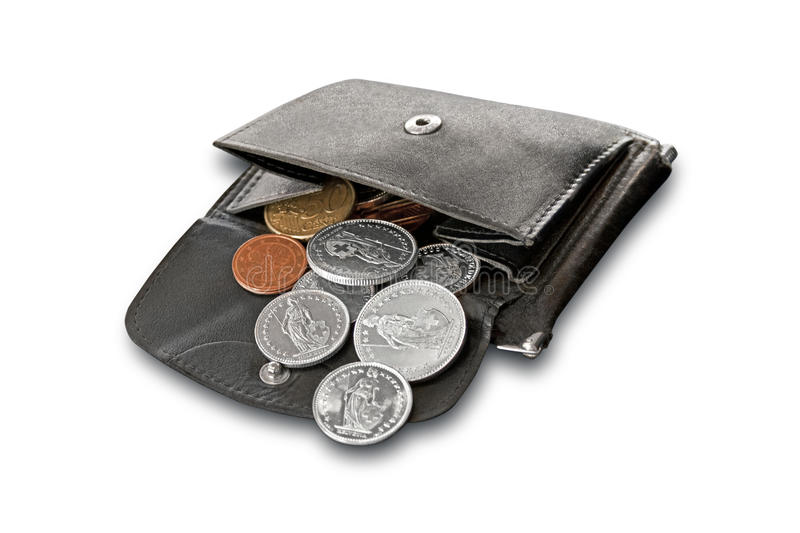 Purse. Filled with euro and Swiss coins stock images