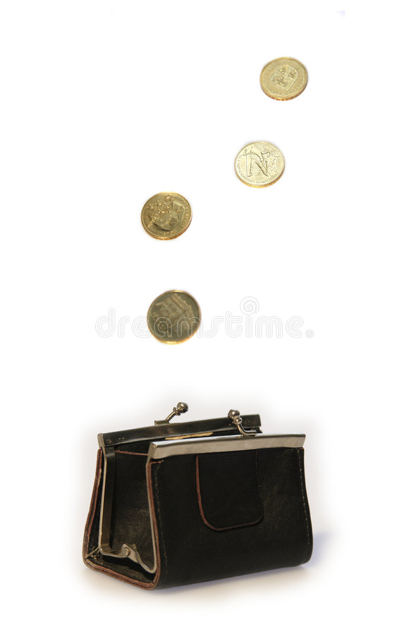 Purse and flying coins stock photo