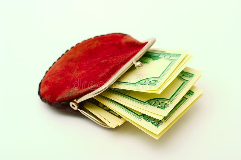 Purse full of dollars royalty free stock images