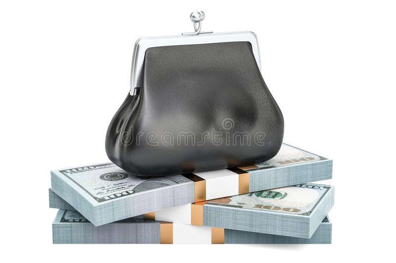 Purse with heap of dollar packs, 3D rendering stock illustration