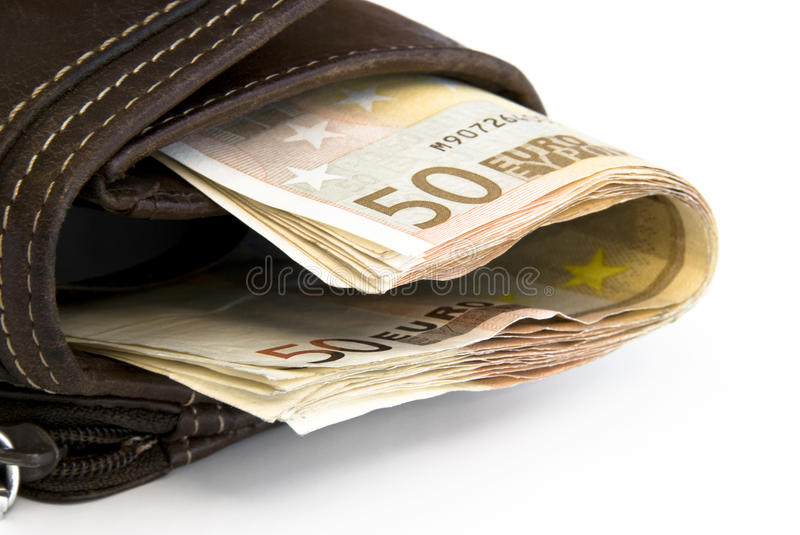 Purse with Money Euro. Leather Purse filled with Euro Bills royalty free stock photo