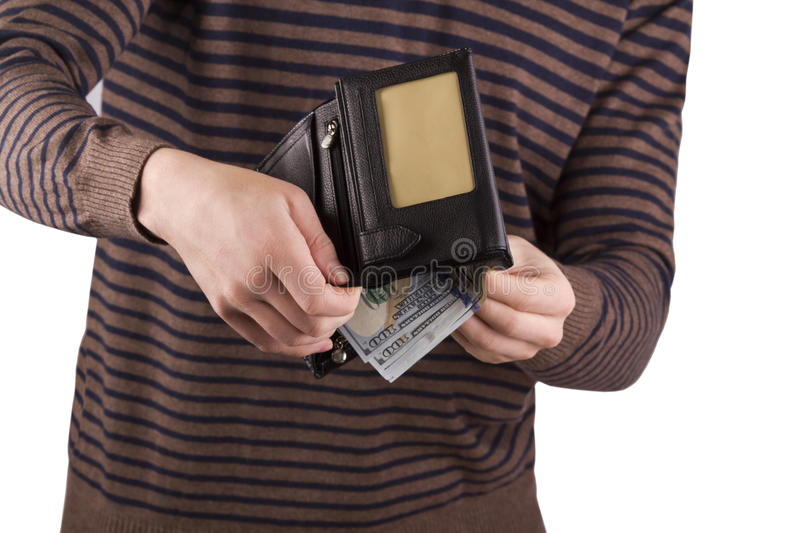 Purse with money in the hands of men, spend money royalty free stock image