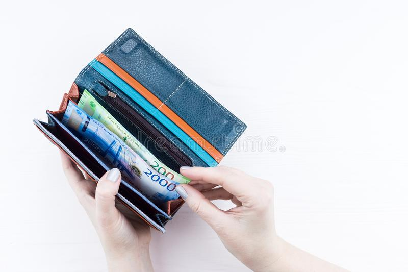 Purse with money in hands stock photo