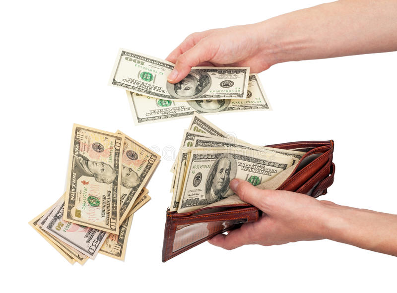 Purse with money in hands. On white background stock photo