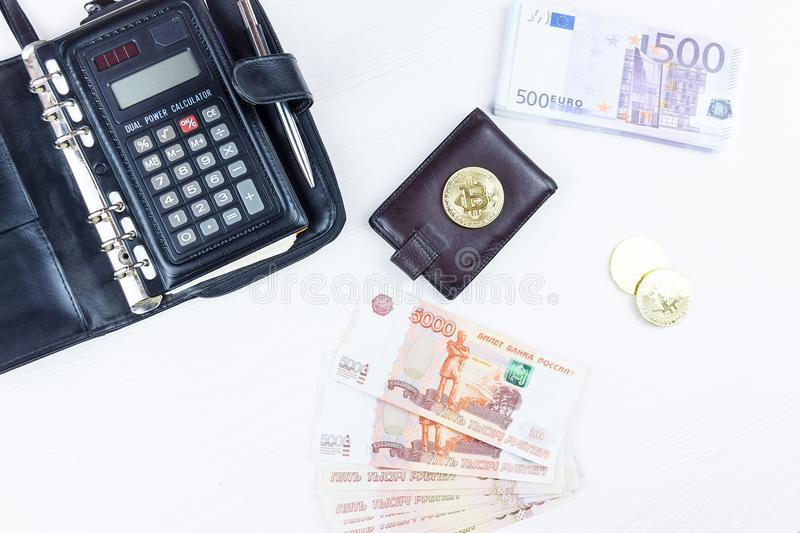 Purse with money royalty free stock photos