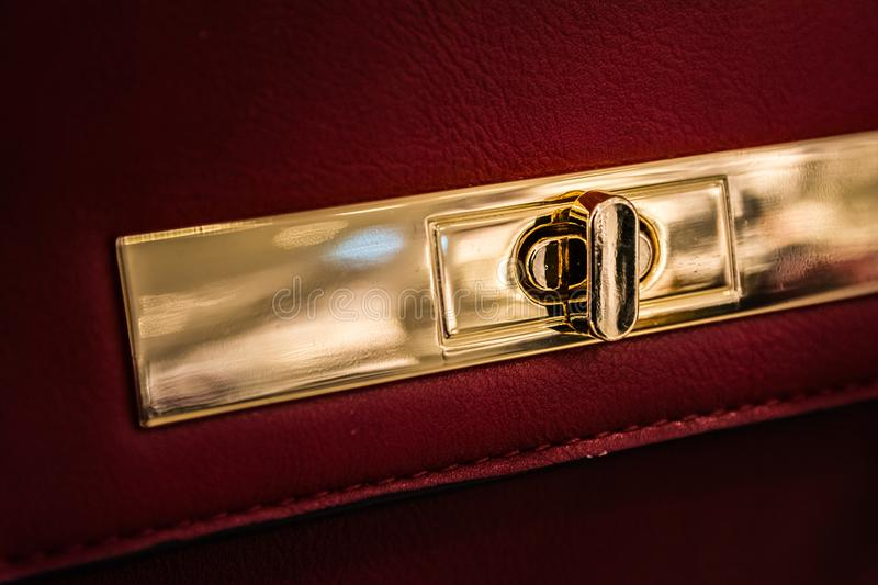 Purse Pocket Book Clasp Closeup Fashion Object Personal Accessory Golden Shiny Luxurious Closed stock images
