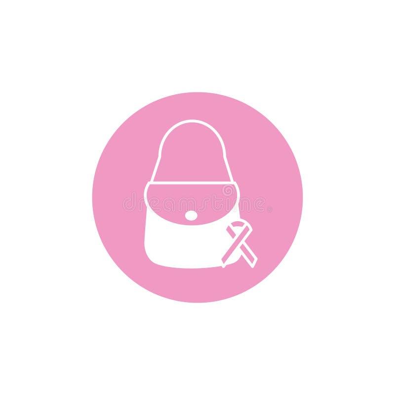 Purse ribbon breast cancer awareness. Block icon vector illustration vector illustration