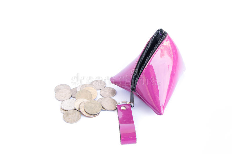 Purse with Thailand coins isolated stock images
