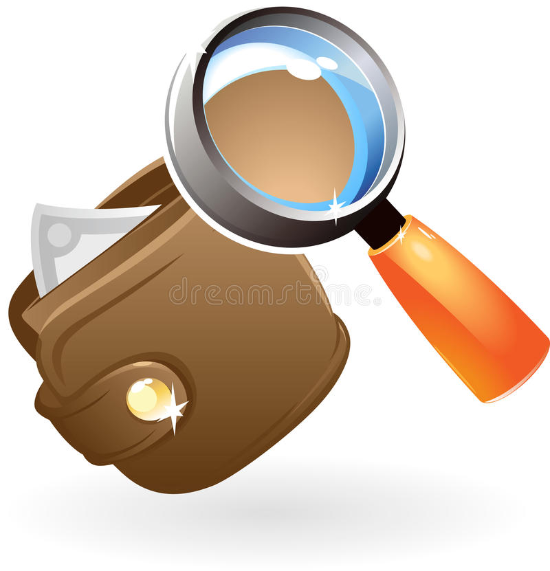 Download Purse under lens stock vector. Image of magnifying, explore - 10755554