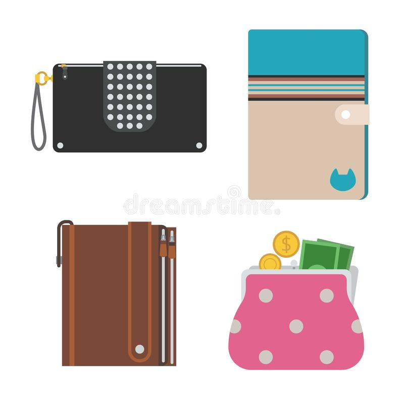 Purse wallet vector isolated. Purse wallet with money vector for shopping. Shopping buy business purse wallet. Financial payment bag accessory object purse royalty free illustration