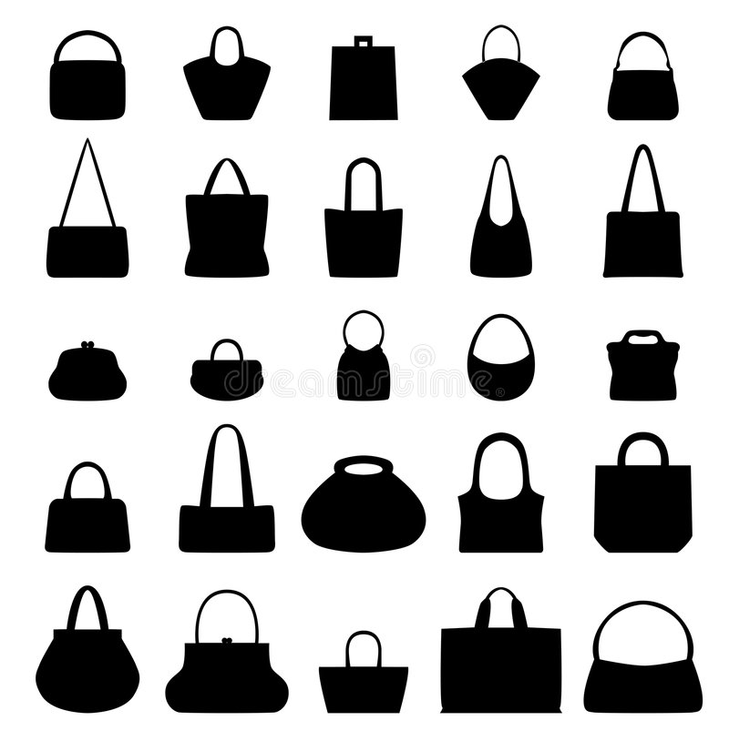 Purses. Execution of 25 different purses and handbags