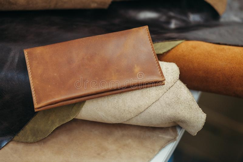 Purses in different styles which made from colorful genuine leather.  stock image