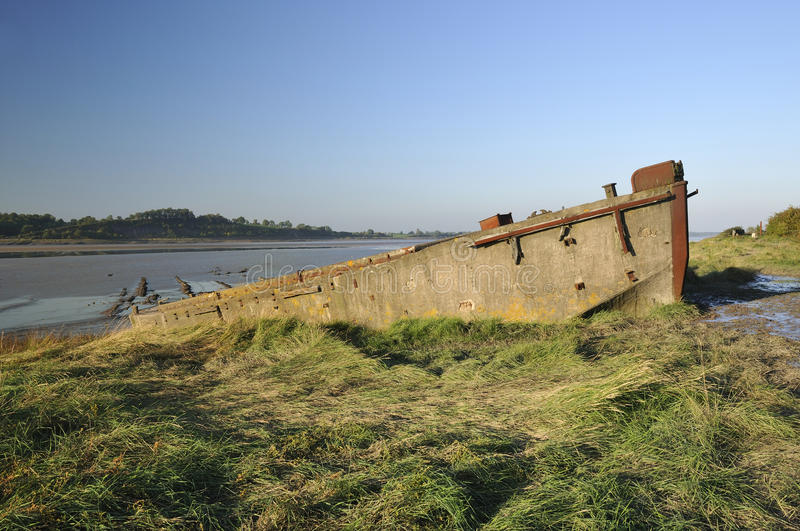 Purton Hulks - Concrete Lighter royalty free stock photo
