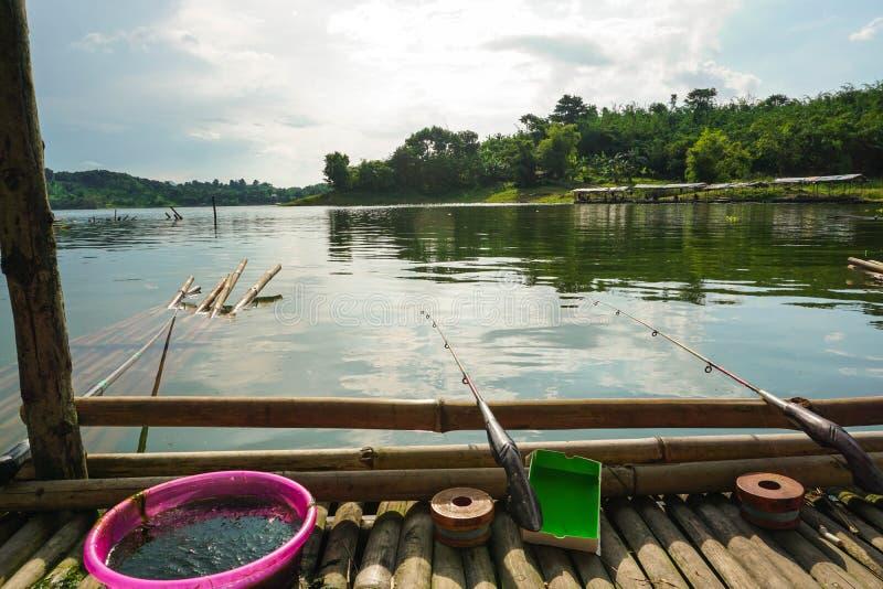 Purwakarta, West Java, Indonesia (03/30/2018) : Enjoy fishing on the edge of Jatiluhur Dam. Nature, water, beautiful, sky, view, landscape, travel stock images