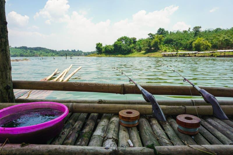 Purwakarta, West Java, Indonesia (03/30/2018) : Enjoy fishing on the edge of Jatiluhur Dam. Nature, water, beautiful, sky, view, landscape, travel stock image