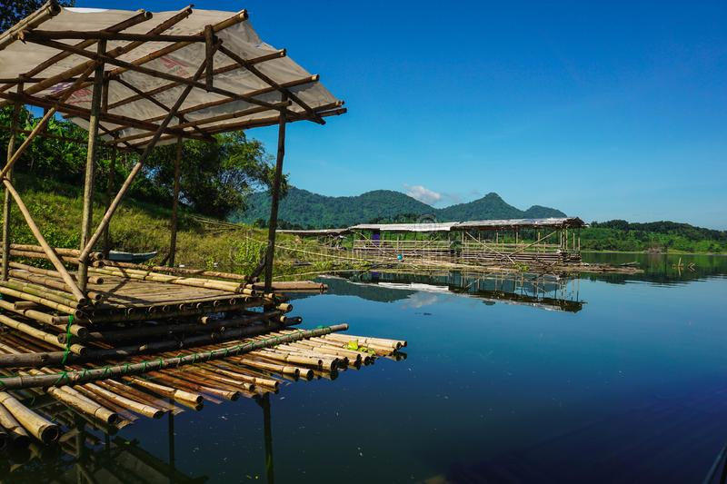 Purwakarta, West Java, Indonesia (03/30/2018) : A group of fishing rafts at the edge of Jatiluhur Dam. Nature, water, beautiful, sky, view, landscape royalty free stock photography