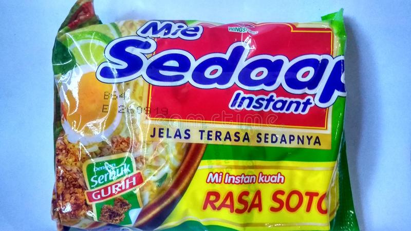 Purworejo-indonesian, 12 july 2019 : delicious noodles indonesian brand stock images