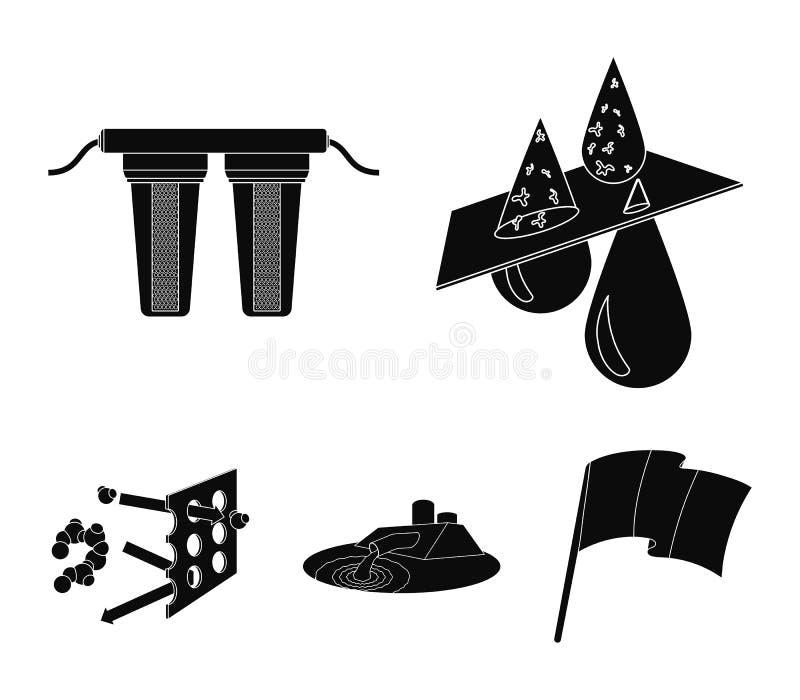 Puryfikacja, woda, filtr, filtracja Wodnego filtracyjnego systemu ustalone inkasowe ikony w czerń stylu symbolu wektorowym zapasi royalty ilustracja