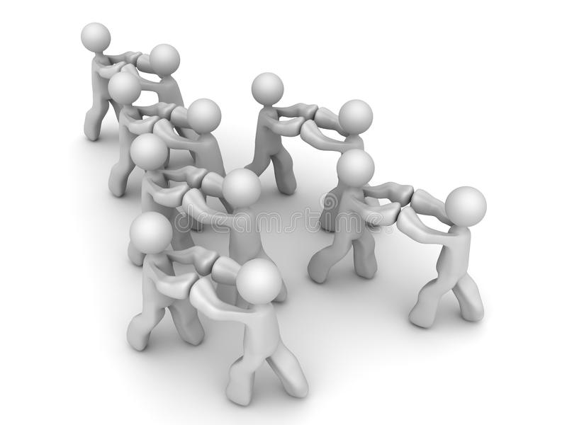 Push against each other. A group of cartoon illustration men pushing against each other stock illustration